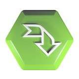 Green Hexagon push button arrow right and down - 3D rendering illustration - 242438622