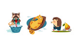 Cute funny animals characters in different actions, raccoon washing clothes in a basin, cat catching a fish in the boat, hedgehog carrying the cart with pear vector Illustration - 242439602