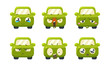 Collection of cute green car cartoon characters showing different emotions, car emoticons vector Illustration