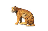 Tiger seated looking left isolated on white background,3d rendering