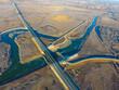 construction of an automobile bridge, aerial photography