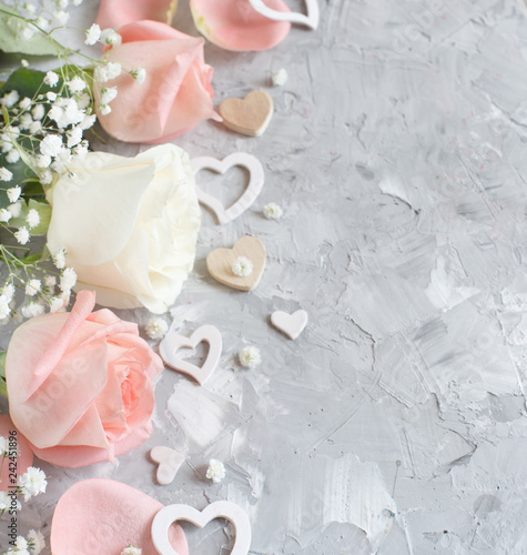 Pink and cream roses with hearts