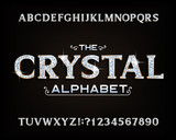 Crystal alphabet font. Luxury diamond letters and numbers with gold bevel. Stock vector typescript for your design.