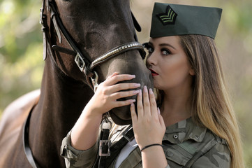 beauty make up and military look