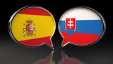 Spain and Slovakia flags with Speech Bubbles. 3D illustration