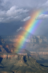 Rainbow over the north rim of the Grand Canyon, Arizona