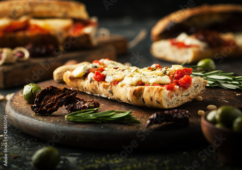 Bruschetta with dried tomatoes and cheese