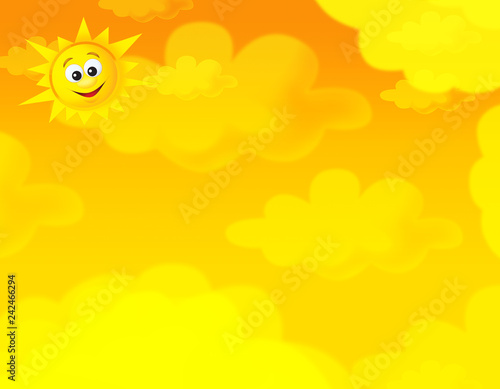 cartoon summer sky and happy sun background with space for text - illustration for children - 242466294