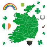 Illustration in material design style with geographic map of Ireland.