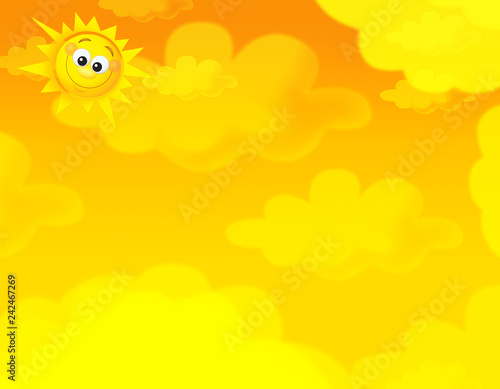 cartoon summer sky and happy sun background with space for text - illustration for children - 242467269