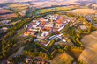Aerial view of Josefov fortress in Jaromer. Josefov is a large historic defence complex of 18th century military architecture. Famous fortress from above. Czech republic, European union. - 242468845