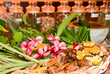 Leinwanddruck Bild - Ayurveda herbs and roots for treatment