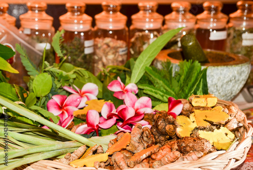 Leinwanddruck Bild Ayurveda herbs and roots for treatment