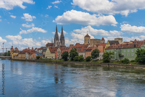 obraz PCV Regensburg, Germany - 4th biggest city of Bavaria, and divided in two halves by the Danube, Regensburg is a UNESCO World Heritage Site due to its wonderful medieval architecture