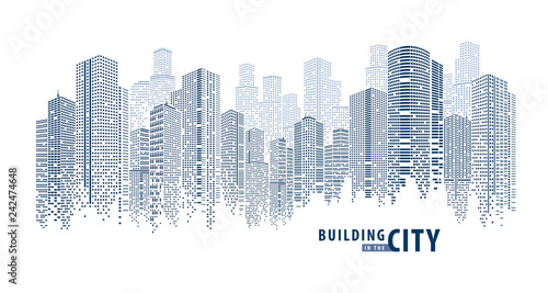 Abstract Futuristic City vector, Dots Building in the City. - 242474648