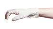 side view of relaxed hand in latex glove isolated
