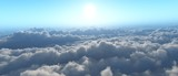 Above the clouds, the sunrise in the clouds from above,
