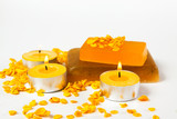 items for bodycare and relaxation - handmade soap, oatmeal and candles - 242479870