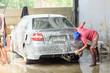 Leinwandbild Motiv car wash service in garage