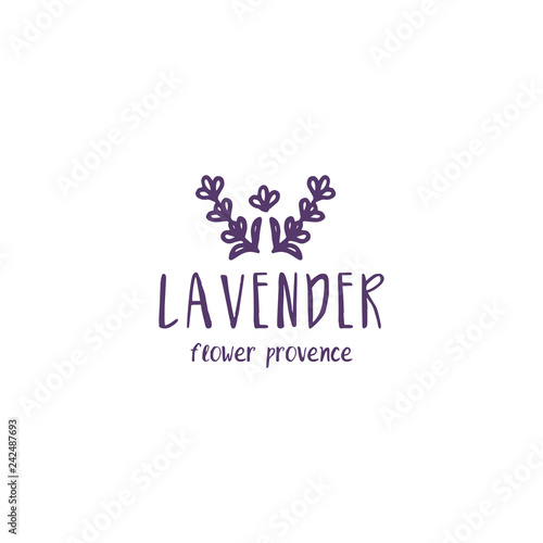 Template label logo design of abstract icon lavender. Vector illustration - 242487693