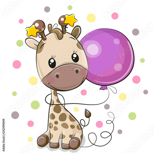 Cute Cartoon Giraffe with Balloon