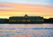 Sunset on Neva, Universitetskaya embankment . Saint-Petersburg. Academy of arts.