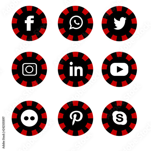 Social icon red and black facebook, instagram, twitter, youtube, pinterest,  whatsapp 0c9191e733