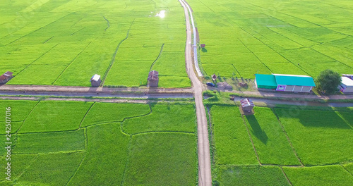 Leinwandbild Motiv Image of beautiful Terraced rice field in water season and Irrigation from drone,Top view of rices paddy field,nan,thailand
