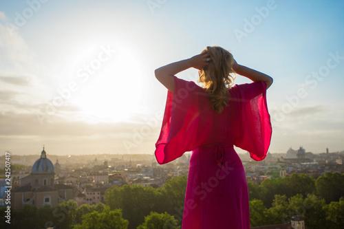 Woman enjoying morning in Rome