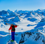 Skiing with amazing view of swiss famous mountains in beautiful winter snow  Mt Fort. The matterhorn and the Dent d'Herens. In the foreground the Grand Desert glacier. - 242509664
