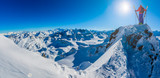 Skiing with amazing view of swiss famous mountains in beautiful winter snow  Mt Fort. The matterhorn and the Dent d'Herens. In the foreground the Grand Desert glacier. - 242510202