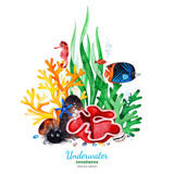 Underwater creatures.Watercolor composition with multicolored corals,seashells,seaweeds and tropical fish.Perfect for invitations,party decorations,printable,craft project,greeting cards,blog,texture.