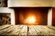 Leinwandbild Motiv Wooden table of free space and fireplace
