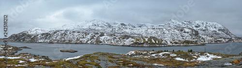 Leinwanddruck Bild Panorama of norwegian fjord, Lofoten islands, Norway