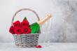 Leinwandbild Motiv Red rose flowers bouquet and champagne