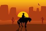 Wild west gunslinger in a raincoat riding a horse. Background the desert. - 242520244