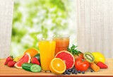 Orange juice and slices of orange on background - 242525446
