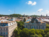 aerial view of old european city. sunny summer day