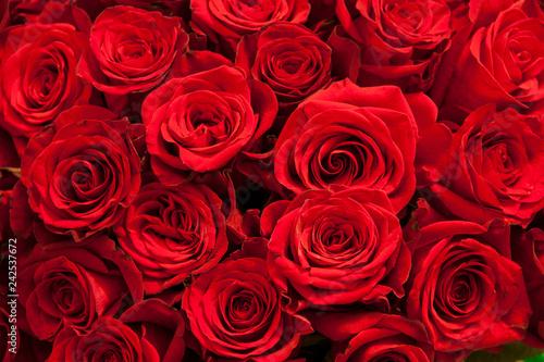 Leinwanddruck Bild Romantic background of a bouquet of red
