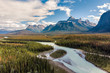 Aerial View of the Canadian Rockies at Banff National Park in Alberta, Canada.