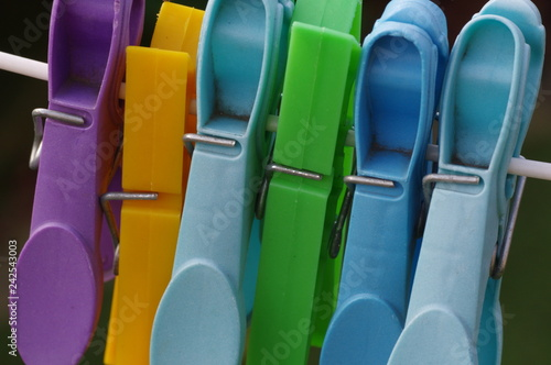 Clothes pegs in colour