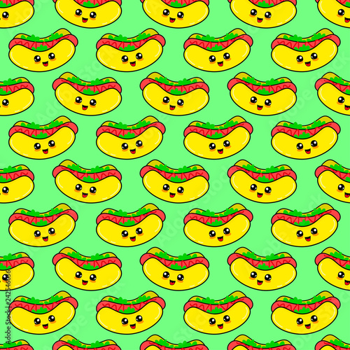 obraz lub plakat Abstract seamless hot dog pattern for girls or boys. Creative vector background with hot dog, sausage. Funny wallpaper for textile and fabric. Fashion hot dog style. Colorful bright picture