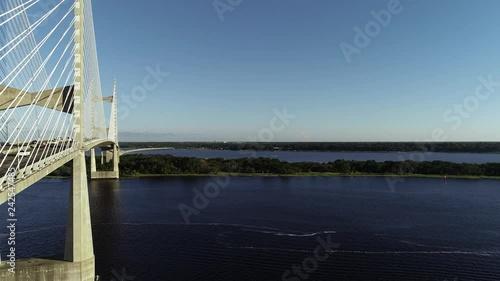 Wall mural Bridge: Drone Slow rise shot : Dames Point Bridge