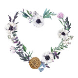 Floral wreath. Watercolor botanical hand drawn