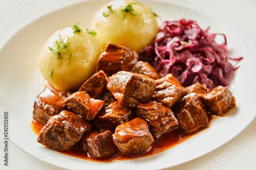 Leinwandbild Motiv Wild venison goulash or hot pot
