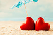Quadro Heart on the sand on the seashore.