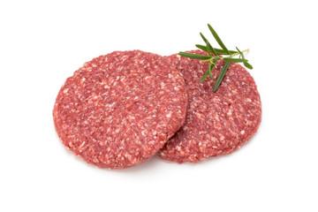Raw fresh hamburger meat isolated on white. © gitusik