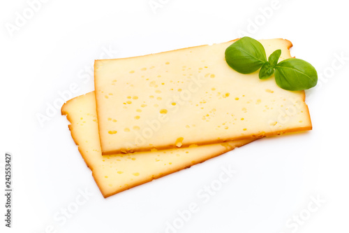Foto Murales Cheese slices isolated on the white background.