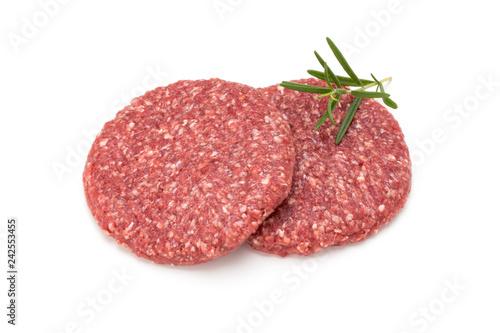 Raw fresh hamburger meat isolated on white. - 242553455