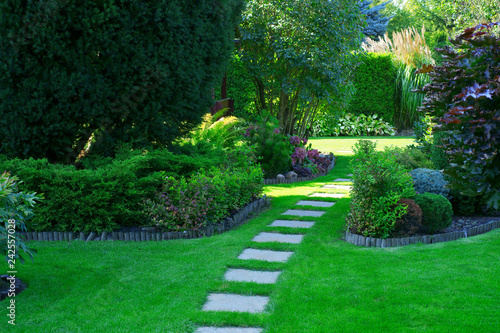 Beautiful lawn and path in a garden
